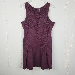 Free People Zebra Chenille Drop Waist Mini Dress